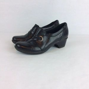 Clarks 6.5 M Bendables Womens Black Leather
